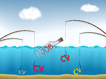 Job fishing. Job seeking presented as colorful abstract drawing vector illustration
