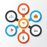 Job Flat Icons Set Collection d'enveloppe, de barre de tarte, de hiérarchie et d'autres éléments Inclut également des symboles te Photos libres de droits