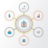 Job Flat Icons Set Collection d'identification, d'augmentation, de groupe et d'autres éléments Inclut également des symboles tel Photographie stock