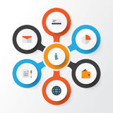 Job Flat Icons Set Collection de barre de tarte, d'homme de travail, de portefeuille et d'autres éléments Inclut également des sy Images libres de droits