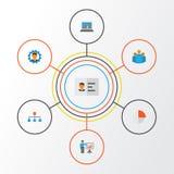 Job Flat Icons Set Collection de barre de tarte, de groupe, de diagramme et d'autres éléments Inclut également des symboles tel l Photographie stock libre de droits