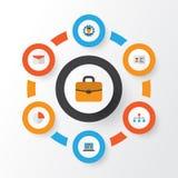Job Flat Icons Set Collection de barre de tarte, de promoteur, de hiérarchie et d'autres éléments Inclut également des symboles t Photo stock