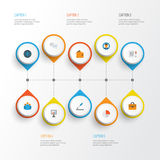 Job Flat Icons Set Collection de global, de stylo, de portefeuille et d'autres éléments Inclut également des symboles tel le grap Images libres de droits