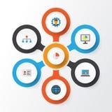 Job Flat Icons Set Collection de hiérarchie, de barre globale, de tarte et d'autres éléments Inclut également des symboles tel la Photo libre de droits