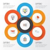 Job Flat Icons Set Raccolta del bordo di presentazione, di chiacchierata, delle statistiche e di altri elementi Inoltre comprende Fotografia Stock
