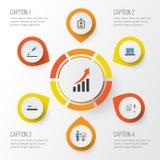 Job Flat Icons Set Raccolta del contratto, presentando elementi aumentare ed altro dell'uomo, Inoltre comprende i simboli come Immagine Stock