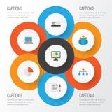 Job Flat Icons Set Raccolta del diagramma, del contratto, del pagamento e di altri elementi Inoltre comprende i simboli quale la  Fotografia Stock Libera da Diritti