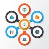 Job Flat Icons Set Raccolta del diagramma, gruppo, presentando uomo ed altri elementi Inoltre comprende i simboli quale il gruppo Immagini Stock