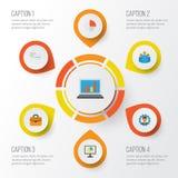 Job Flat Icons Set Raccolta del gruppo, del diagramma, dello sviluppatore e di altri elementi Inoltre comprende i simboli come Fotografia Stock