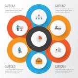 Job Flat Icons Set Raccolta del pagamento, identificazione, presentando uomo ed altri elementi Inoltre comprende i simboli tali Immagini Stock Libere da Diritti