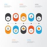 Job Flat Icons Set Raccolta del portafoglio, busta, pagamento Fotografie Stock Libere da Diritti