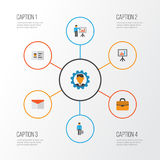 Job Flat Icons Set Raccolta dell'uomo del lavoro, della busta, del bordo di presentazione e di altri elementi Inoltre comprende i Immagini Stock Libere da Diritti