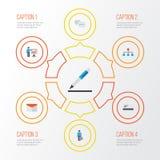 Job Flat Icons Set Raccolta dell'uomo del lavoro, penna, presentando uomo ed altri elementi Inoltre comprende i simboli come Immagini Stock