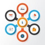 Job Flat Icons Set Raccolta della torta Antivari, dell'uomo del lavoro, del portafoglio e di altri elementi Inoltre comprende i s Immagini Stock Libere da Diritti