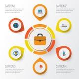 Job Flat Icons Set Raccolta della valigia, dello sviluppatore, del pagamento e di altri elementi Inoltre comprende i simboli qual Fotografia Stock