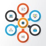 Job Flat Icons Set Raccolta delle statistiche, della gerarchia, del diagramma e di altri elementi Inoltre comprende i simboli com Fotografia Stock Libera da Diritti