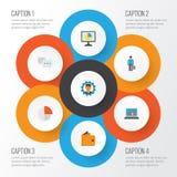 Job Flat Icons Set Raccolta di chiacchierata, dell'uomo del lavoro, del diagramma e di altri elementi Inoltre comprende i simboli Immagini Stock Libere da Diritti