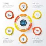 Job Flat Icons Set Raccolta di elementi di chiacchierata ed altro di pagamento, dell'identificazione, Inoltre comprende i simboli Fotografia Stock