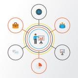 Job Flat Icons Set Raccolta di elementi globali ed altro della torta Antivari, della valigia, Inoltre comprende i simboli quale i Immagini Stock