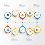 Job Flat Icons Set Raccolta di globale, della penna, del portafoglio e di altri elementi Inoltre comprende i simboli quale il gra Immagini Stock Libere da Diritti