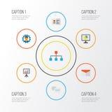 Job Flat Icons Set Raccolta di sviluppatore, della gerarchia, delle statistiche e di altri elementi Inoltre comprende i simboli q Immagini Stock Libere da Diritti