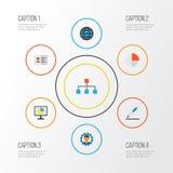 Job Flat Icons Set Raccolta di sviluppatore, della gerarchia, delle statistiche e di altri elementi Inoltre comprende i simboli c Fotografia Stock