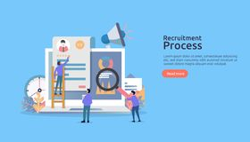 Job hiring, online recruitment concept with people character. agency interview. select resume process. template for web landing stock illustration