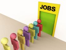 Job hunt. 3d people standing in front of a door showing promise of jobs Stock Images