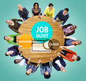 Job Hunt Employment Career Recruitment Hiring-Concept Stock Afbeelding