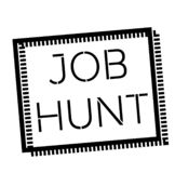 JOB HUNT stamp on white. Stamps and advertisement labels series stock illustration