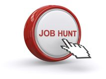 Job hunt. Written of big red and white button with hand icon on white background stock illustration