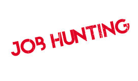 Job Hunting rubber stamp. Grunge design with dust scratches. Effects can be easily removed for a clean, crisp look. Color is easily changed Stock Photos