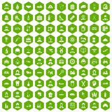 100 job icons hexagon green. 100 job icons set in green hexagon isolated vector illustration Royalty Free Stock Images