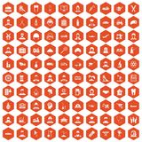 100 job icons hexagon orange. 100 job icons set in orange hexagon isolated vector illustration Stock Photo