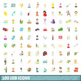 100 job icons set, cartoon style Stock Photo