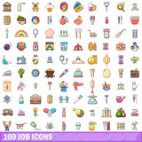 100 job icons set, cartoon style. 100 job icons set in cartoon style for any design vector illustration stock illustration
