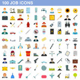 100 job icons set, flat style. 100 job icons set in flat style for any design vector illustration Stock Images