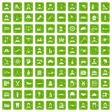 100 job icons set grunge green. 100 job icons set in grunge style green color isolated on white background vector illustration Stock Illustration