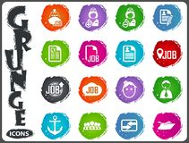 Job icons set in grunge style Royalty Free Stock Photography