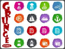 Job icons set in grunge style Royalty Free Stock Images