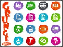 Job icons set in grunge style Stock Images