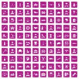100 job icons set grunge pink. 100 job icons set in grunge style pink color isolated on white background vector illustration Stock Images
