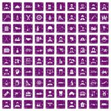 100 job icons set grunge purple. 100 job icons set in grunge style purple color isolated on white background vector illustration stock illustration