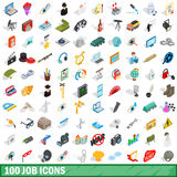 100 job icons set, isometric 3d style Royalty Free Stock Photo
