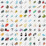 100 job icons set, isometric 3d style. 100 job icons set in isometric 3d style for any design vector illustration Royalty Free Stock Photography