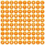 100 job icons set orange. 100 job icons set in orange circle isolated on white vector illustration Royalty Free Illustration
