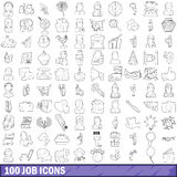 100 job icons set, outline style Royalty Free Stock Images