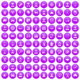 100 job icons set purple. 100 job icons set in purple circle isolated on white vector illustration Stock Illustration