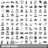 100 job icons set in simple style Royalty Free Stock Photography