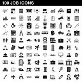 100 job icons set, simple style Royalty Free Stock Photography